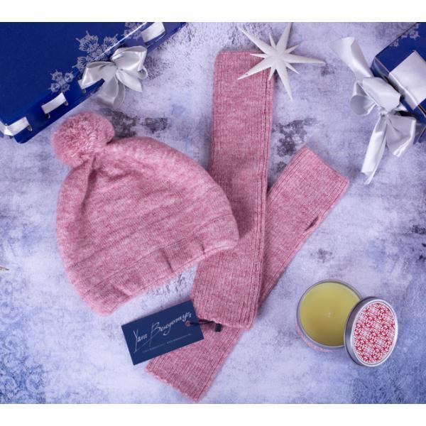 Шапка с помпоном ШС-1 розовый меланж