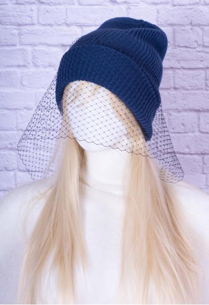 Шапка с вуалью ШБ-1-1 синяя