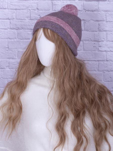 Шапка с помпоном ШС-1 цвет лиловый/розовый